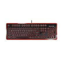Azio MK-RETRO-04 Teclado Mecánico Retro Inspirado en Máquina de Escribir, Color Negro/Rojo
