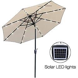 Mefo garden 9 Ft Aluminum Market Outdoor Patio Umbrella with Brighter LED Lights Sturdier Frame & USB Interface Crank Handle Tilt, Beige