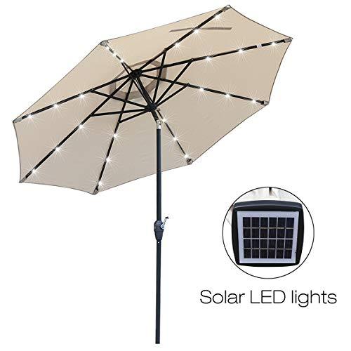 Mefo garden 9 Ft Aluminum Market Outdoor Patio Umbrella LED Lights & USB Interface Crank Handle, Beige by Mefo garden