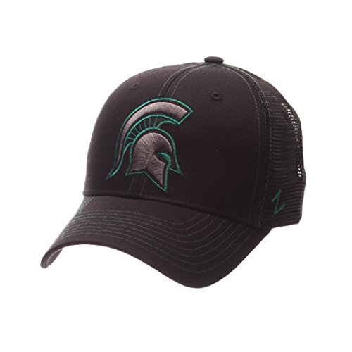 Michigan State Spartans Merchandise (NCAA Michigan State Spartans Adult Men's Staple Trucker Blackout Cap, Adjustable Size, Black)