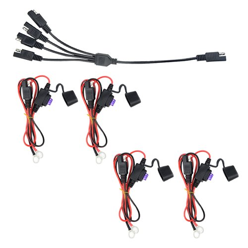 WGCD 4 PCS Ring Terminal Harness with Fused SAE 2 Pin Quick Disconnect Plug and 1 PCS 1 to 4 SAE Power Extension Cable Connector