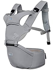 SONARIN Front Premium Hipseat Baby Carrier, Multifunctional, Ergonomic, 100% Cotton, Butterfly Rotary Buckle, 6 Carrying Positions, Adapted to Your Child's Growing,Ideal Gift(Gray)