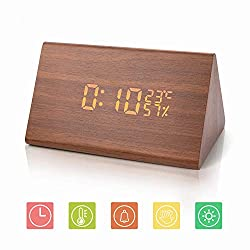 Wooden Alarm Clock, Wood LED Digital Desk Clock, Upgraded with Time Temperature, Adjustable Brightness, 3 Set of Alarm and Voice Control, Humidity Displaying(Brown)