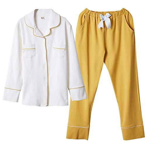 Ocio Xl Algodón Pijamas De Size Kervinzhang Manga Yellow Larga Chaqueta Deporte Pantalones La Solapa Sra Yellow HPfqtwwgx6