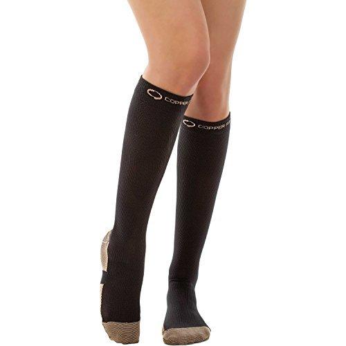 Copper Fit Energy Compression Socks Black Size S/M Men 5-9 or Women 6-10 (Fit Footbed)
