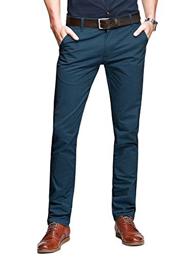 OCHENTA Mens Casual Slim-Tapered Flat-Front Pants Indigo Blue Lable 31