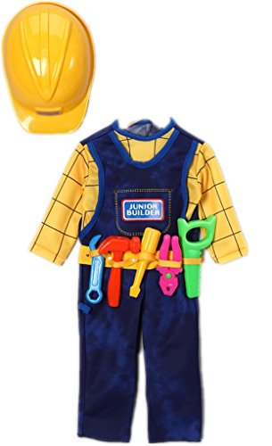 Faerynicethings Junior Builder Toddler Costume with Tools - Toddler fits Sizes 2-4
