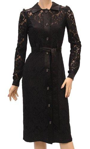 Dolce & Gabbana D&G Womens Knee Length Dress Black Silk, 38, Black
