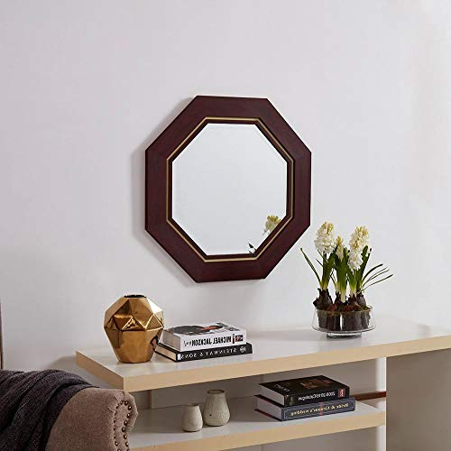 Naomi Home Octagon Wall Mirror with Metal Bezel Cherry ()