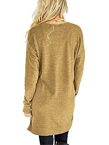 Lunga Tops Moda Giovane Donna Modern Casual con Lunga Camicia Neck Camicetta T V Moda Accogliente Shirts Tshirts Baggy Manica Primaverile Monocromo Stile Eleganti Tasche 77qrwRS
