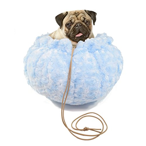 All Seasons Convertible Flat Round Pet Bed to Cat or Dog Cuddler Bed with Ombre Swirl Covering (Light Blue)