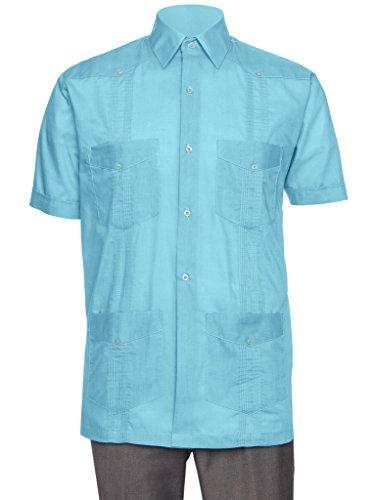 Gentlemens Collection Short Sleeve Guayabera Shirt - for Men Cuban Teal Large