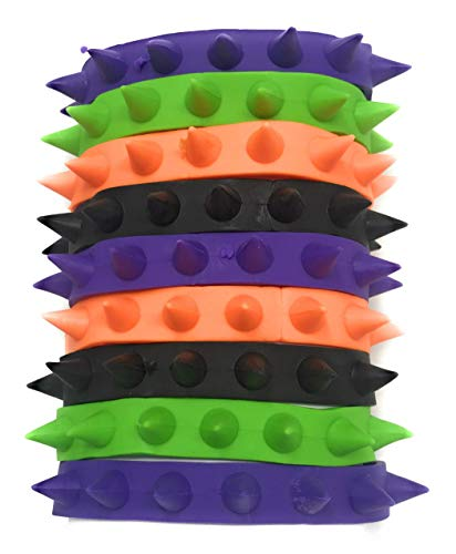 50 Bulk Rubber Spike Bracelet Assortment - Perfect Halloween Costume Jewelry in Black, Purple, Orange, Green and Glow-in-the-Dark -