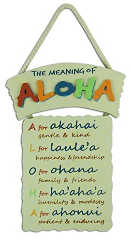 Aloha Sign 10'' X 0.5'' X 12'' by KC Hawaii