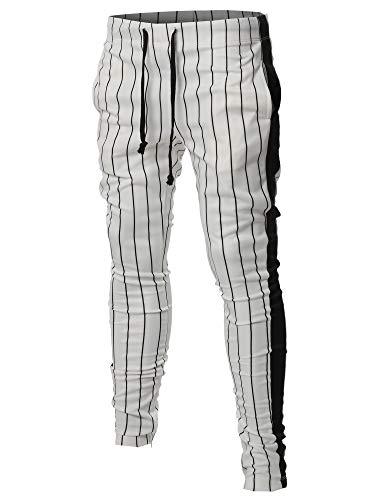 n Stripe Drawstring Ankle Zipper Track Pants White Black L ()