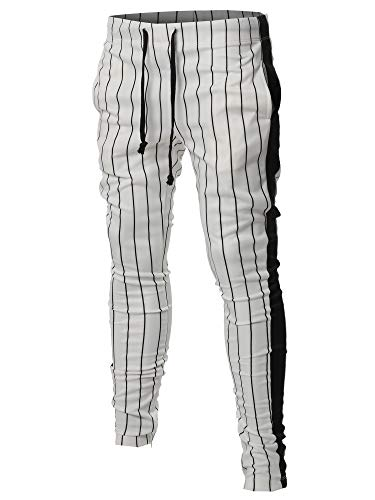 (Casual Side Panel Pin Stripe Drawstring Ankle Zipper Track Pants White Black 2XL)