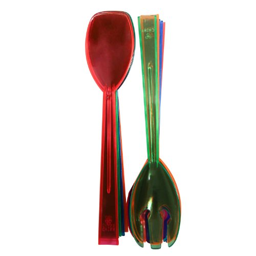 (Party Essentials Hard Plastic Two-Piece Forks/Spoons Serving Utensil Set, 9-1/2-Inch, Assorted Neon Colors, Set of 6)