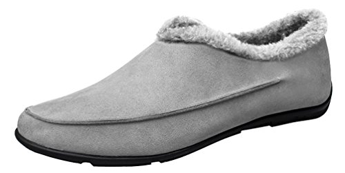 Abby 0718 Mens Komfort Tillfälliga Loafers Slip-on Varm Ull Resa Sneakers Grå