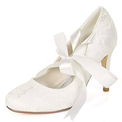 Fall Spring Las Mujeres Pumps Silk L Satin Ribbon Heels De Zapatos Fy562 9cm Kitten Ivory yc Boda Classic IFxYXv
