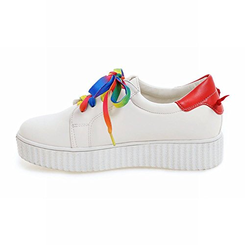Latasa Mujeres Comfort Zapatos De Skate De Cordones Multicolores Oxford Zapatos Red Back