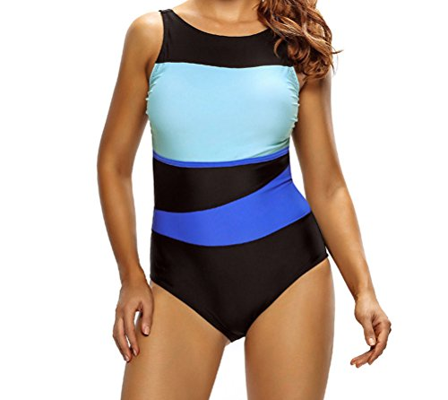 YeeATZ Chic Color Block Accent Hollow-out One Piece Swimsuit(Size,XL)