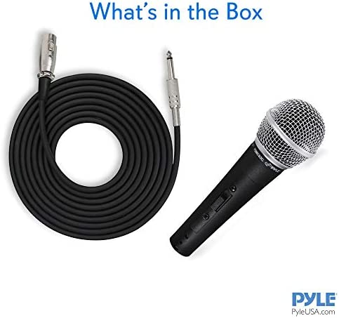 Pyle Professional Dynamic Vocal Microphone - Moving Coil Dynamic Cardioid Unidirectional Handheld Microphone with ON/OFF Switch Includes 15ft XLR Audio Cable to at least one/4'' Audio Connection - PDMIC59