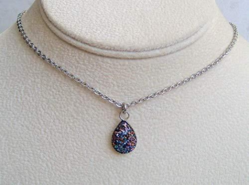 Multi Metallic Blue Purple Aurora Teardrop Faux Druzy Quartz Pendant 18 Inch Necklace Gift Idea ()