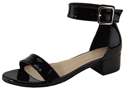Cambridge Select Women's Open Toe Single Band Buckle Ankle Strappy Low Chunky Block Heel Sandal (8.5 B(M) US, Black ()