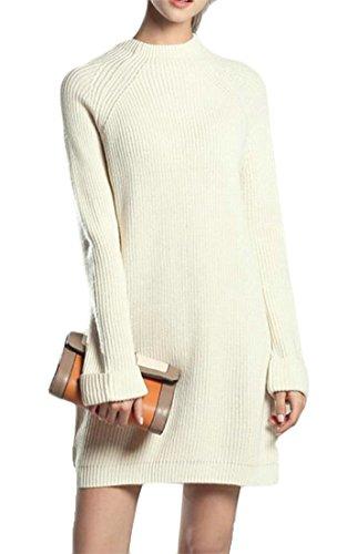 Lunga Delle Jsyau Di Bianco Rotondo Collo Maglioni Puro Media Lunghezza Manica Colore Classici Vestito Casuale Donne Maglieria 8Fzq8w6