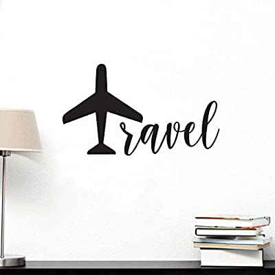 """TRAVEL Lettering - Inspirational Life Quotes - Wall Art Decal - 12"""" x 20"""" Decoration Vinyl Sticker - Bedroom Living Room Wall Decor - Apartment Wall Decoration - Airplane Peel Off Stickers"""