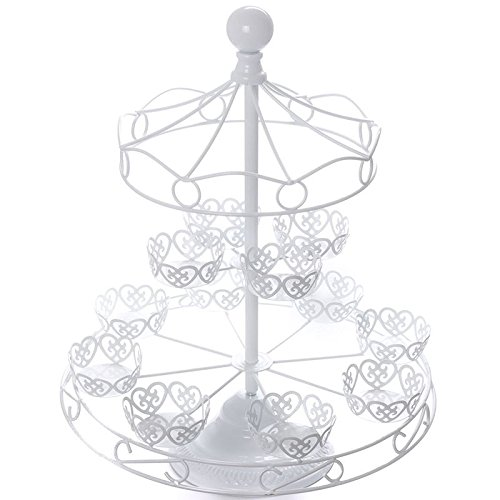 White Carousel Cupcake Stand Merry Go Round Cake Baking Display -