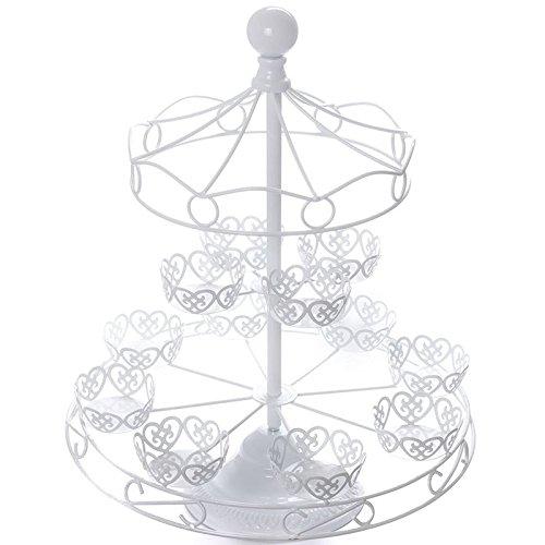 (White Carousel Cupcake Stand Merry Go Round Cake Baking Display Wedding)