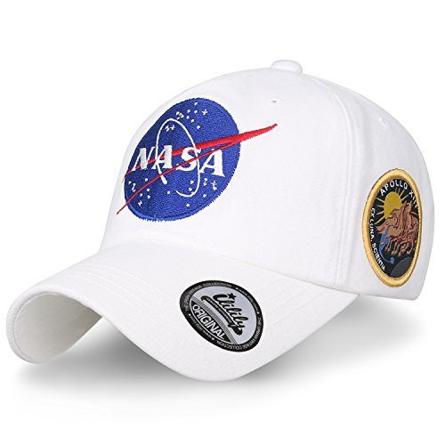 (ililily NASA Meatball Logo Embroidery Baseball Cap Apollo 13 Patch Trucker Hat, White)
