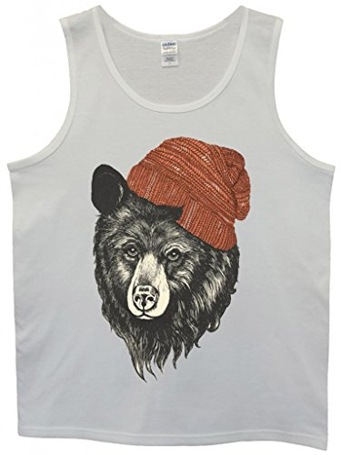 Bear with Beanie Funky Cool Funny Hipster Swag White Men Tank Top Vest