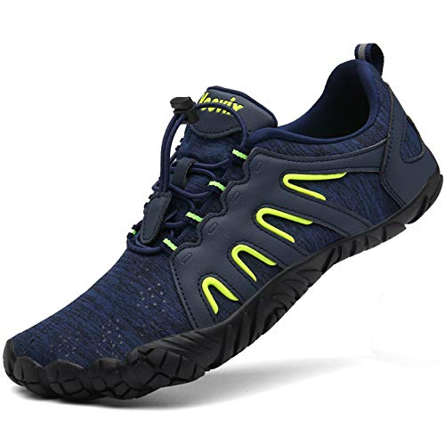 Voovix Mens Womens Trail Running Minimalist Barefoot Shoes Athletic Walking Shoes for Hiking Cross Training(Blue/Green,43)