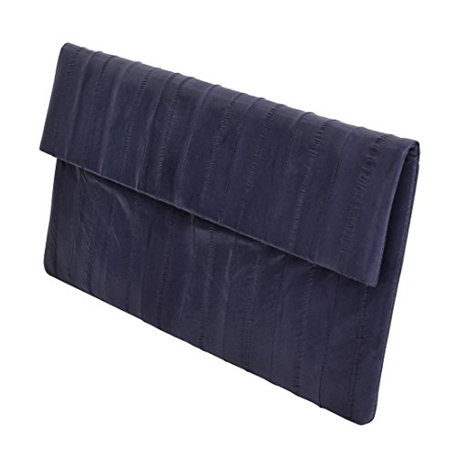 Slim Simple Genuine Eel Skin Leather Folding Evening Clutch Bag Handbag (Navy Blue)
