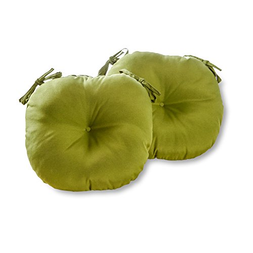 Greendale Home Fashions Round Indoor/Outdoor Bistro Chair Cushion, Summerside Green, 15-Inch, Set of 2 (Green Plastic Outdoor Chairs)