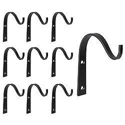 Mkono 10 Pack Iron Wall Hooks Metal Heavy Duty Plant Hanger Bracket Coat Hook Decorative Hook for Hanging Lantern Planter Bird Feeders Coat Indoor Outdoor Rustic Home Decor, Screws Included