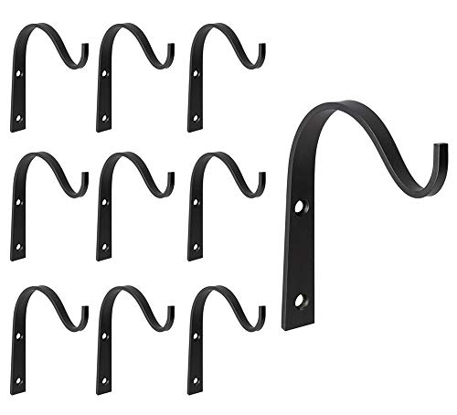 Mkono 10 Pack Iron Wall Hooks Metal Heavy Duty Plant Hanger Bracket Coat Hook Decorative Hook for Hanging Lantern Planter Bird Feeders Coat Indoor Outdoor Rustic Home Decor, Screws Included