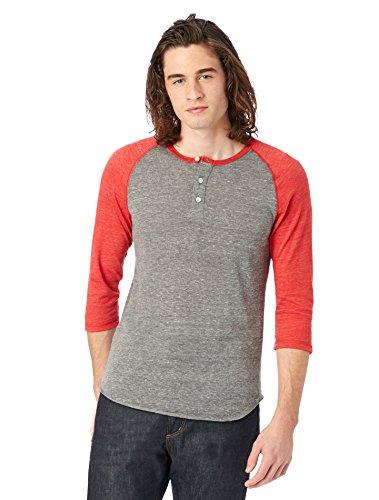 Alternative mens Basic Eco-Jersey 3/4 Sleeve Raglan Henley Shirt XX-Large Eco Grey & Eco True Red (Henley Baseball Tee)