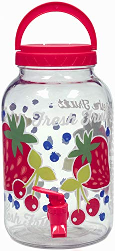 Circleware 89591 Sun Tea Mason Jar Glass Beverage Dispenser Fun Party Entertainment Home and Kitchen Glassware Water Pitcher for Juice, Beer & Iced Cold Punch Drinks, 3 Liters, Fresh Fruit