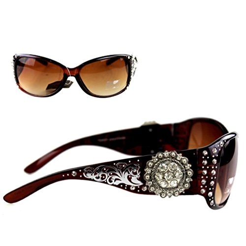 Montana West Ladies Sunglasses Silver Design Scrollwork Rhinestones Floral Concho UV 400, Coffee Frame Black ()