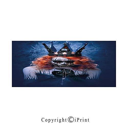 Queen Large Premium Quick Dry Cotton & Microfiber Bath Towel,Queen of Death Scary Body Art Halloween Evil Face Bizarre Make Up Zombie,for Travel Sports & Beach,W70.8 x L31.4 Navy Blue Orange Black