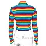 Fashion Womens Long Sleeves Turtleneck Rainbow Striped Zipper Tops Blouse T-Shirt (M, Multicolor)