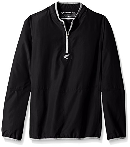 Easton Boys M5 Youth Long Sleeve Cage Jacket, Black/Silver, - Up Youth Jacket Warm