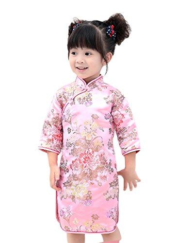 AvaCostume Girls Traditional Chinese Qipao Dress Cheongsam Costume, Pinkpeony, 3T-4T -