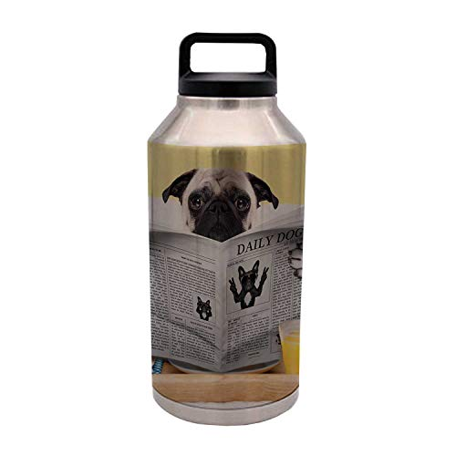 TecBillion Pug Durable 64OZ Stainless Steel Bottle,Pug Reading Daily Dog Breakfast in Bed Sunday Family Fun Comedic Image for Home Travel Office,4