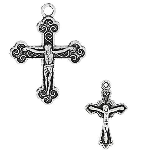 - Cross Crucifix Charm Pendants, 100 Pack (50 of Each)