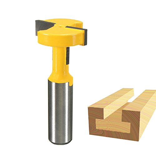 Zzanggu Straight T Slot Router Bit, 1/2-inch Shank T-Slot & T-Track Groove Forming Router Bit for Carbide Wood Milling Cutter ()
