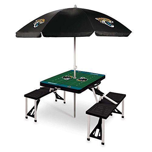 NFL Jacksonville Jaguars Picnic Table Sport with Umbrella Digital Print, One Size, Black by PICNIC TIME